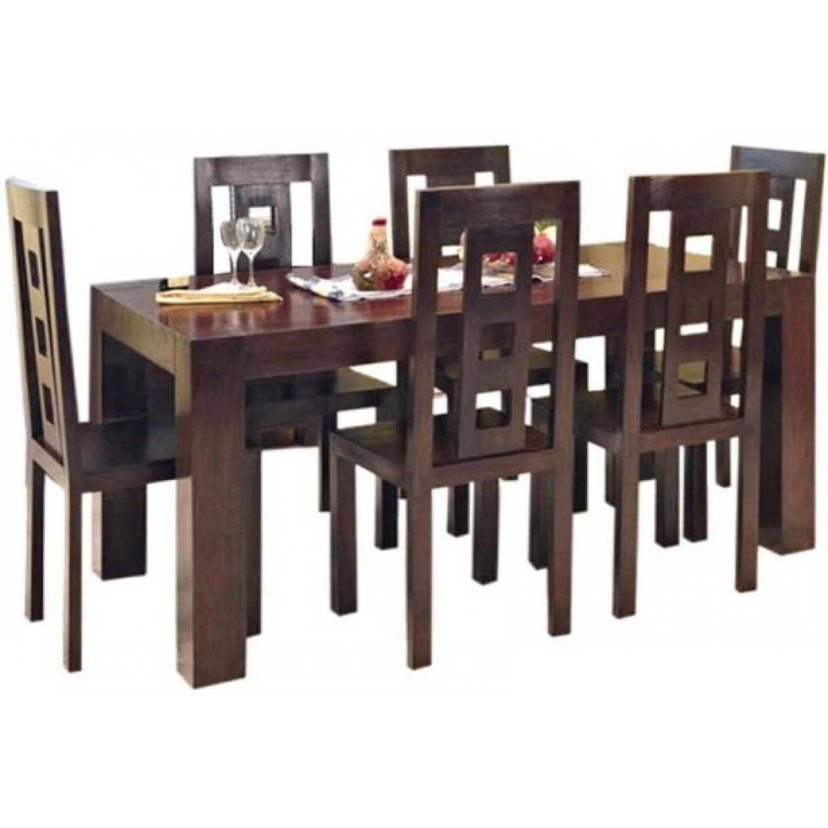 Six Seater Dining Table Online Walnut Brown Color Finishing