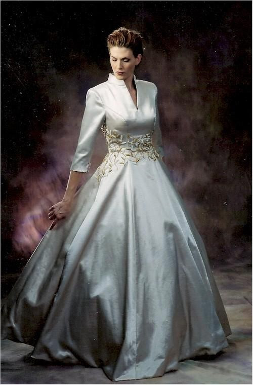 Darius Cordell Couture Wedding Dress Shantung Dupioni Silk Queen Anne Collar 3 4 Sleeves