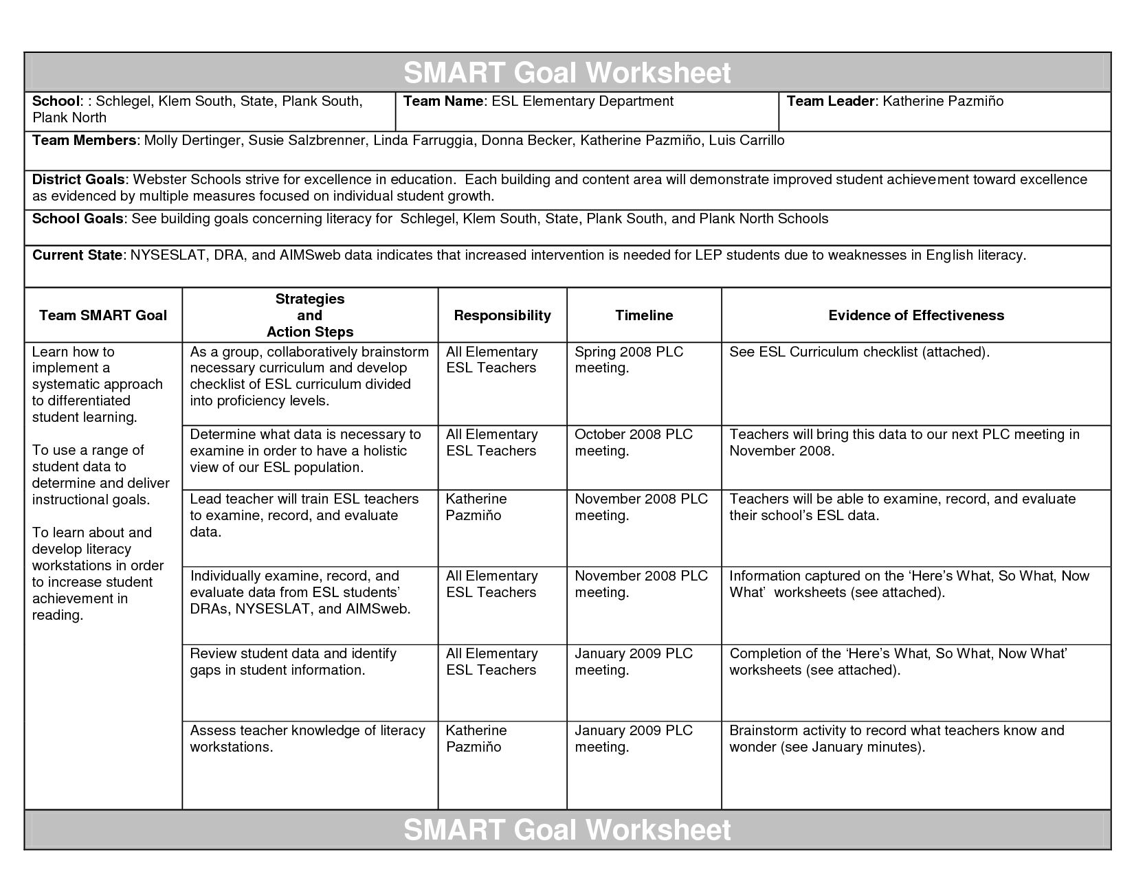 worksheet Smart Goals Worksheet Doc smart goals template a new year for you day of an annual teachers best photos educational smart