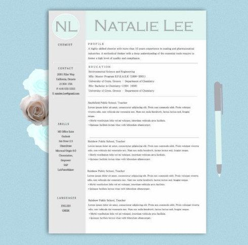 Teachers Resume Template  Page  Ms Word  Cover Letter  Resume