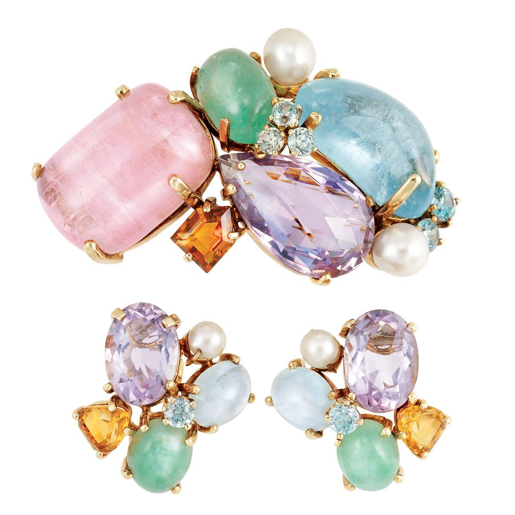 Gold, Cabochon Colored Stone, Gem-Set and Cultured Pearl Clip-Brooch and Pair of Earclips  Cabochon pink tourmalines, aquamarines  emeralds, faceted amethysts  citrines, c. 1940.