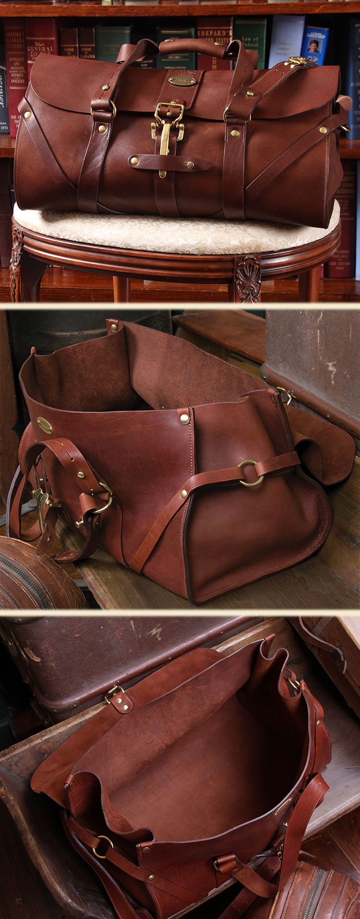 Photo of Full-Grain Leather Duffle, No. 1 Grip Travel Bag – USA Made | Col Littleton