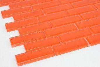 Fire Orange 1 X3 Fire Orange Glass Tile Price Per Piece 1 Piece 875 Square Feet Amazon Com Tiles Price Glass Mosaic Tiles Tiles