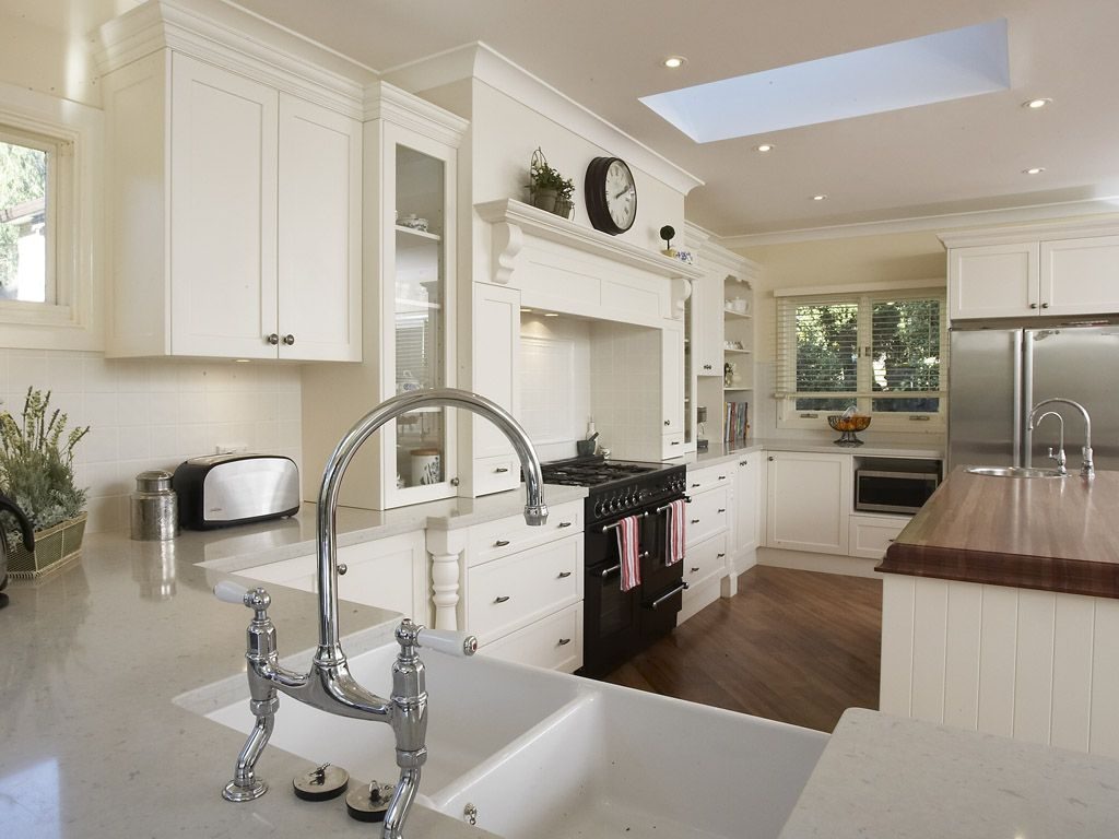 Beautiful White Country Kitchens minimalist kitchen design with straight to wall layout and clean