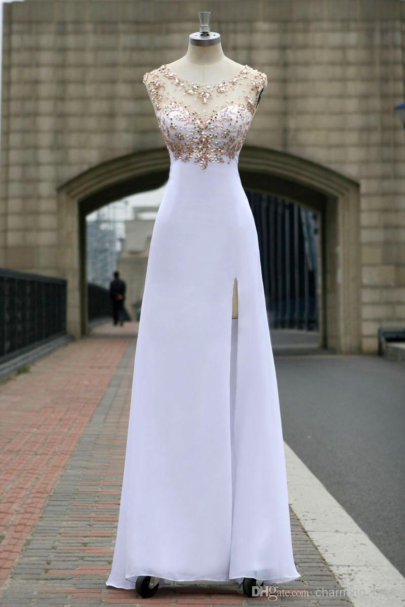 White sheer jewel neck chiffon drop back evening dresses beaded side