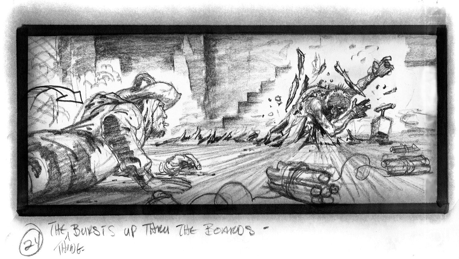 John CarpenterS The Thing Storyboard  The Thing Bursts Up Thru