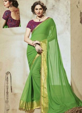 Parrot Embroidery Lace Border Goerette Designer Party Wear Sarees http://www.angelnx.com/Sarees/Party-Wear-Sarees
