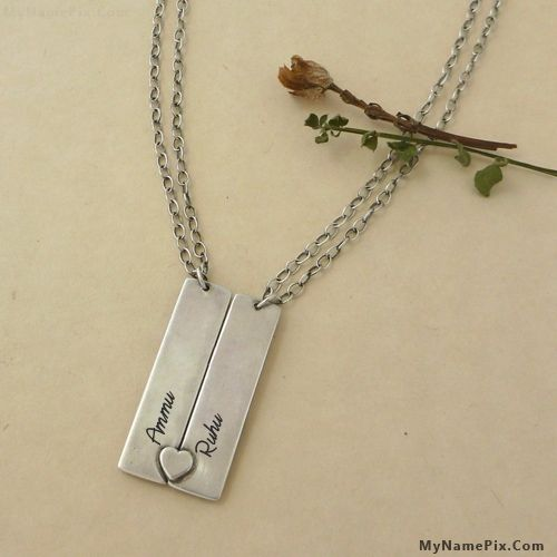 The Name Ammu Is Generated On Personalized Heart Couple Necklace
