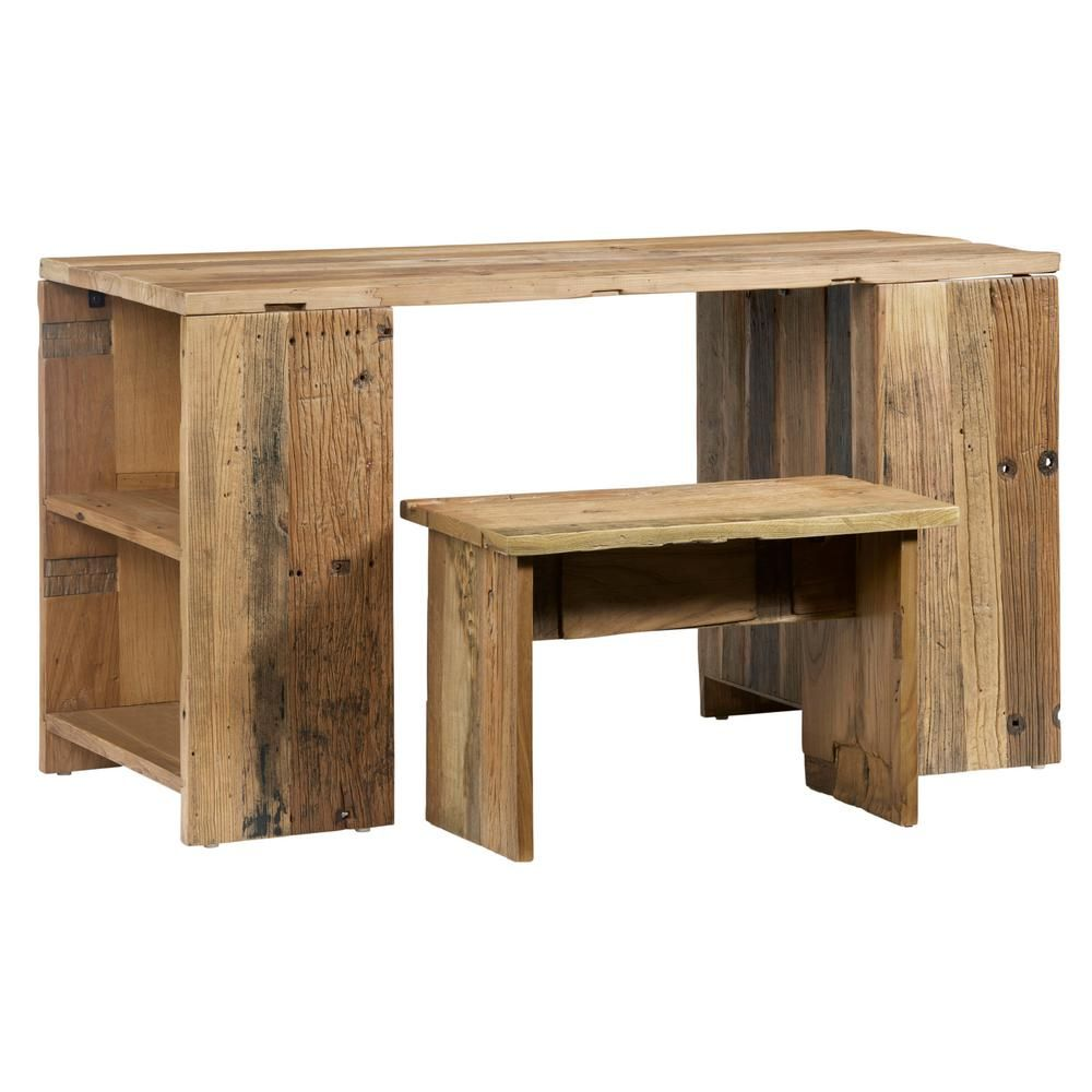 Progressive Furniture Easton Reclaimed Elm Desk And Bench