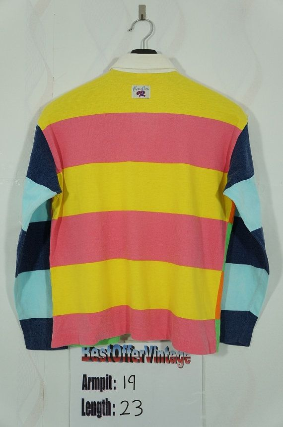 709518616d6 Vintage 90s United Colors Of Benetton Multi Color rugby shirt Small ...