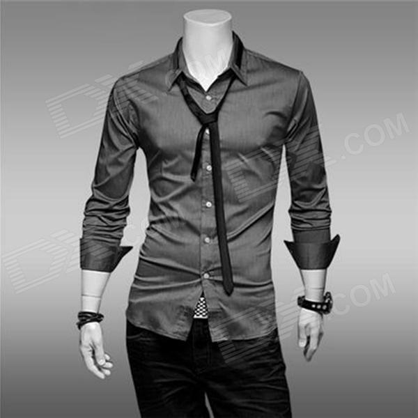 Moderno camisa masculina de mangas compridas de algodão + poliéster - Cinza (G)