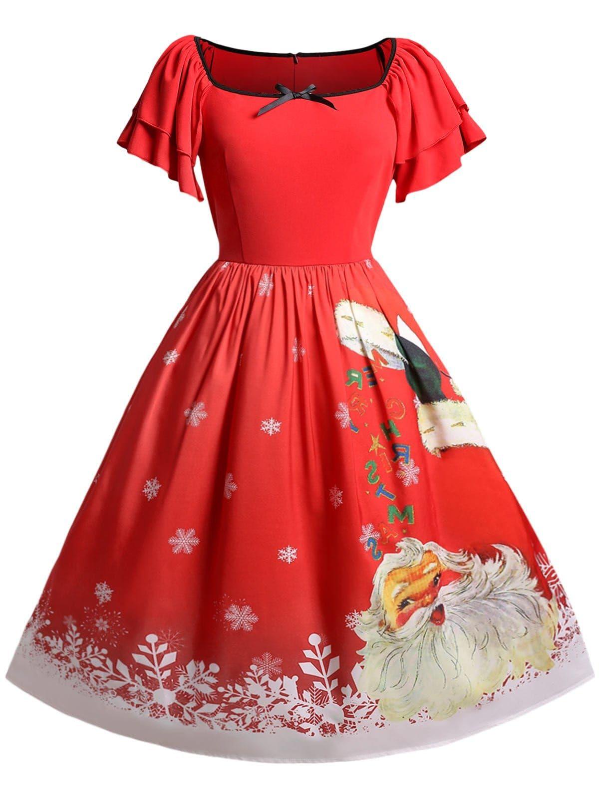 91c87ab8130 Christmas Plus Size Santa Claus Print Vintage Dress
