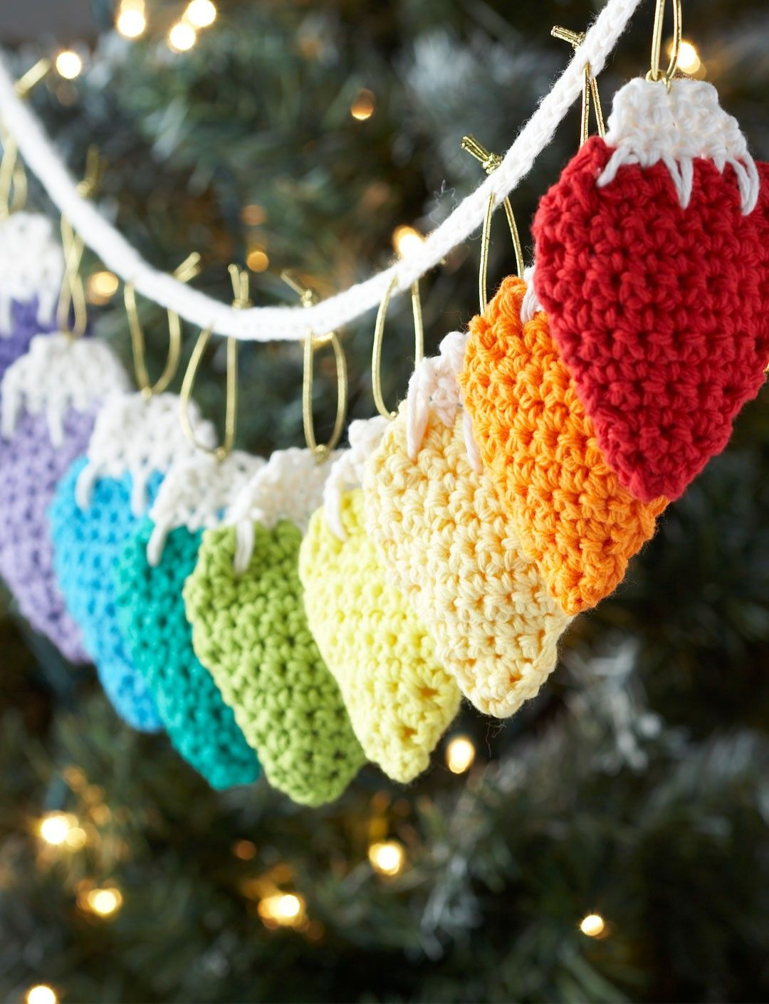 Crochet Decoration Patterns Crochet Holiday Lights Garland Or Individual Tree Decorations