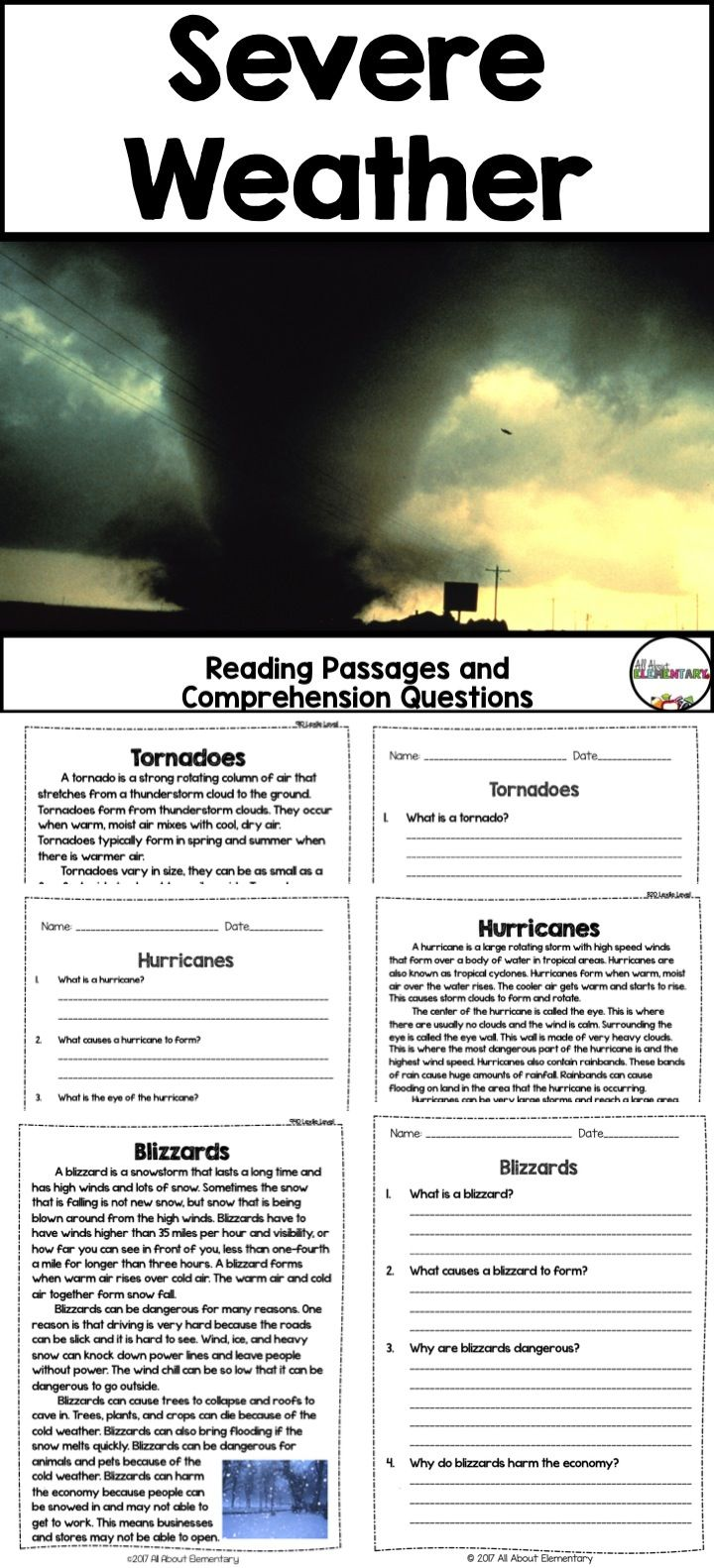 Severe Weather Reading Passages And Comprehension Questions Reading Passages Leveled Reading Passages Comprehension Questions