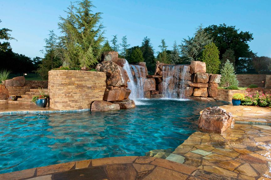 cool backyard pool waterfall is one of the home design images that can be an inspiration