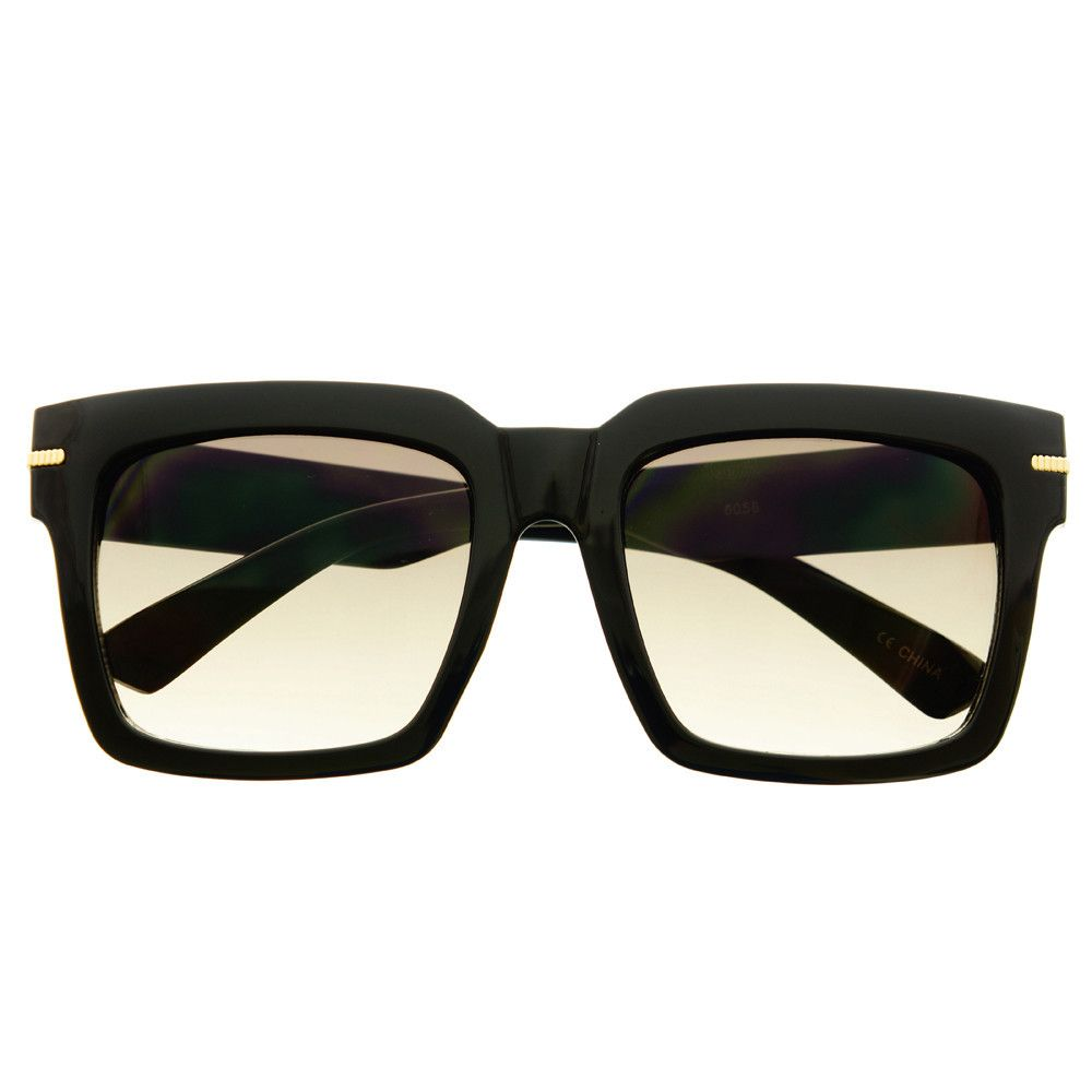 7c07b23ea3  wayfarer  retro  vintage  fashion  celebrity  designer  large  square   sunglasses  black  smoke  lens  womens