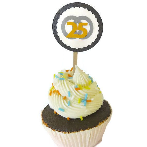 25th Anniversary Cupcake Top... from PartyParts on Wanelo