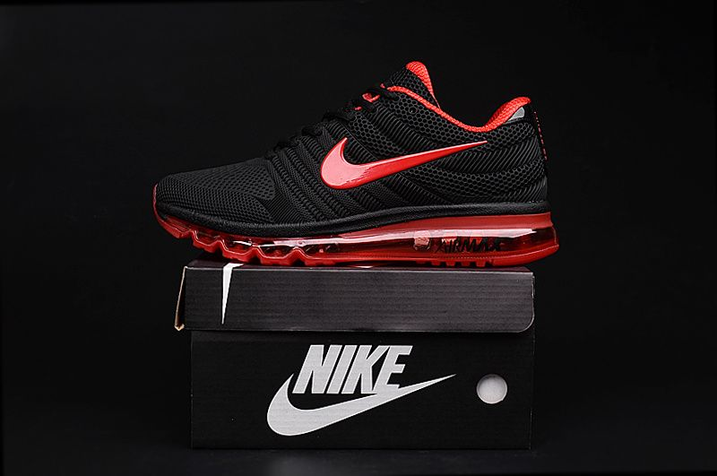 Nike Air Max 2017 Black Red Shoes | Nike air max, Nike air