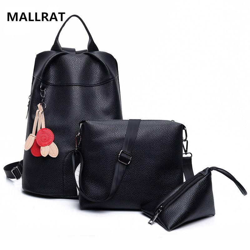 MALLRAT Women Backpack Fashion Female PU Leather Tassel Rucksack High  Quality black Casual School Bag 3pcs c5fbc27729296