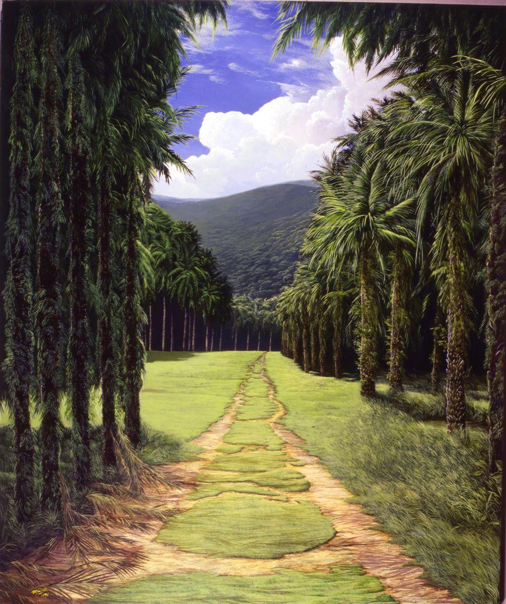 CAMINO DE PALMERAS Acrylic / canvas - Acrílico s/tela 1.00 x 1.30 mt ...