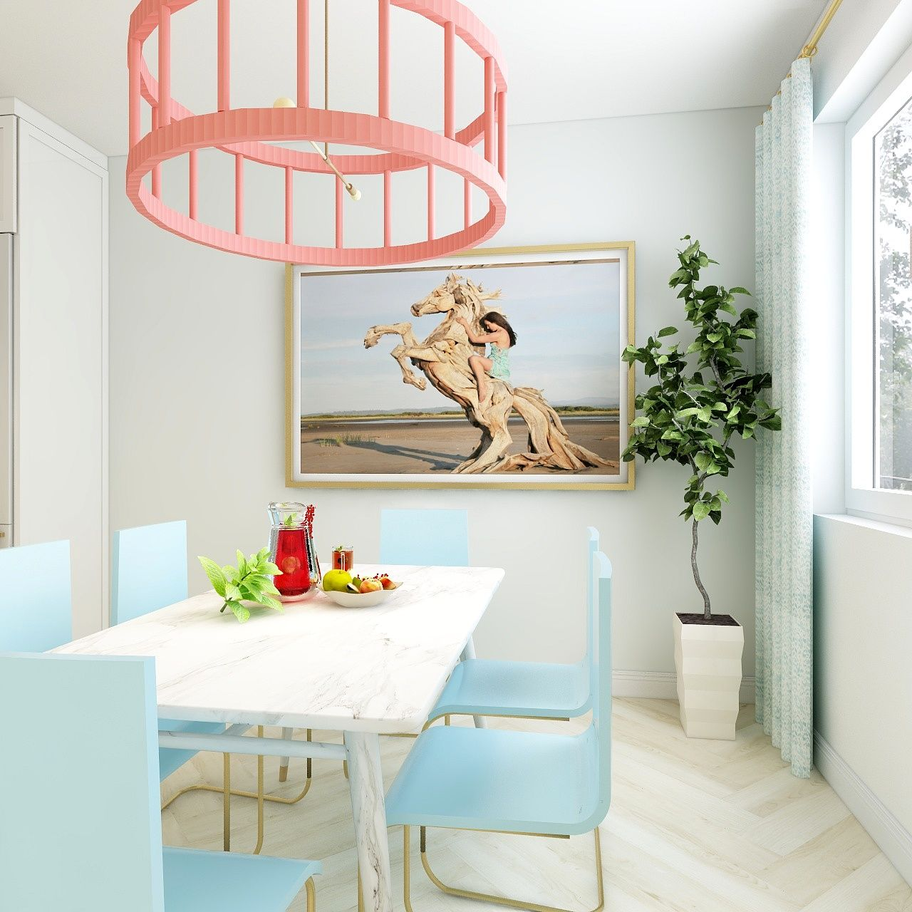 We just love this pretty dining area with a coastal vibe and pops of confectionary color 🍬   Photo: #3drendering 😮 by #mcbrieninteriors Designed by: @mcbrieninteriors  #diningroom #diningarea #popofcolor #coastalvibe #coastalinteriors #interiordesign #summer #coastalliving  #tagafriend