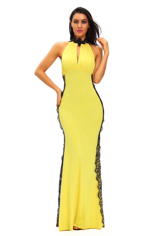 Yellow Peekaboo Halterneck Lace Trim Party Gown | Pinterest