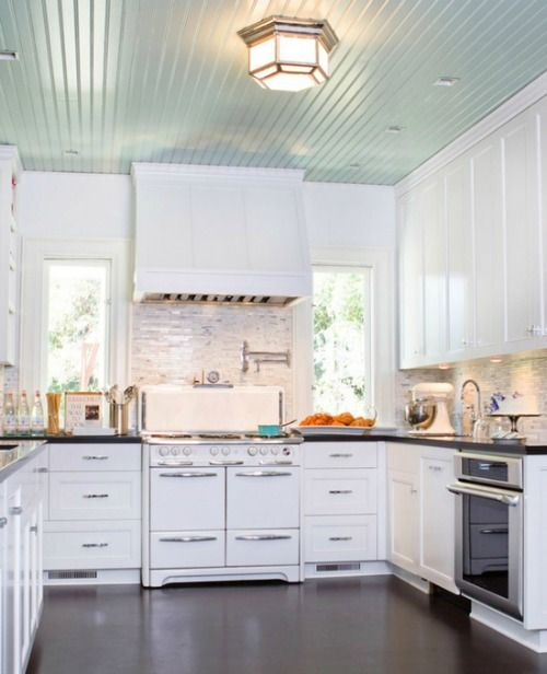 Painted Ceilings For Every Room Aqua Ceiling Kitchen Paintedceilings Kitchens Cottagestyle Coastalstyle Home Kitchens Kitchen Inspirations Kitchen Remodel