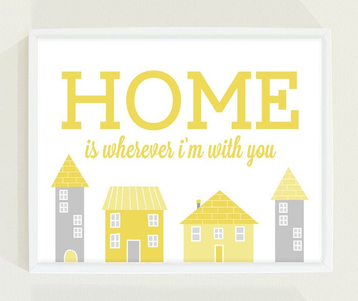 Typography Poster Print - Pastel Mustard Yellow and Gray Modern ...