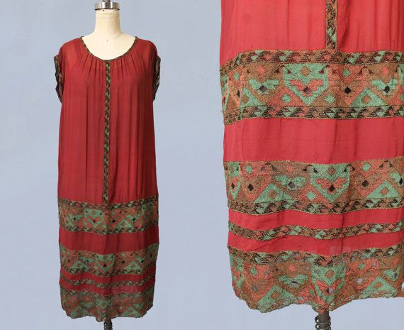 1920s Dress / 20s Egyptian Revival Red Chiffon Dress with Heavily Embroidered Panels / Gold Bullion / Sheer Mesh Diamonds