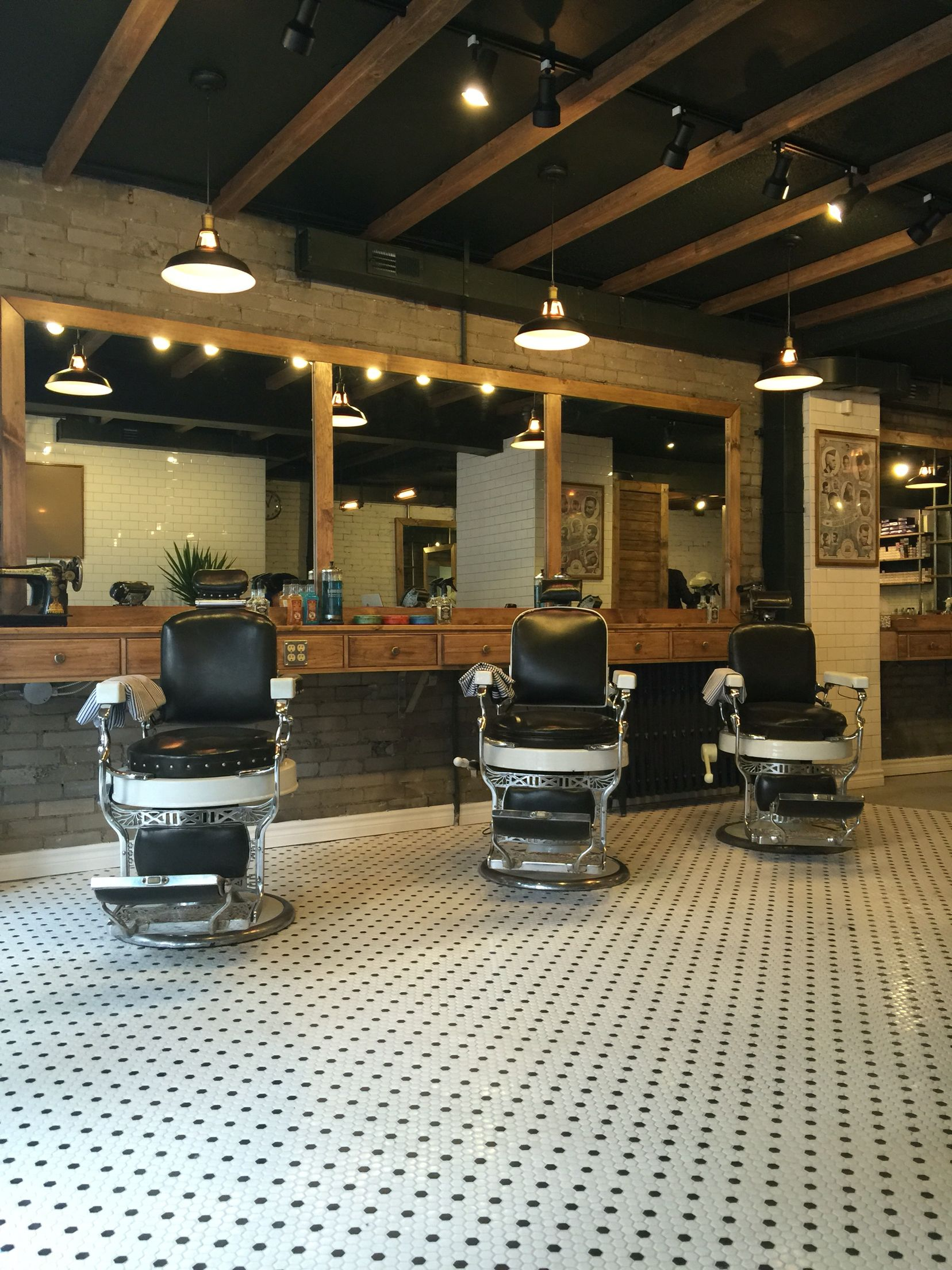 barber with antique chairs