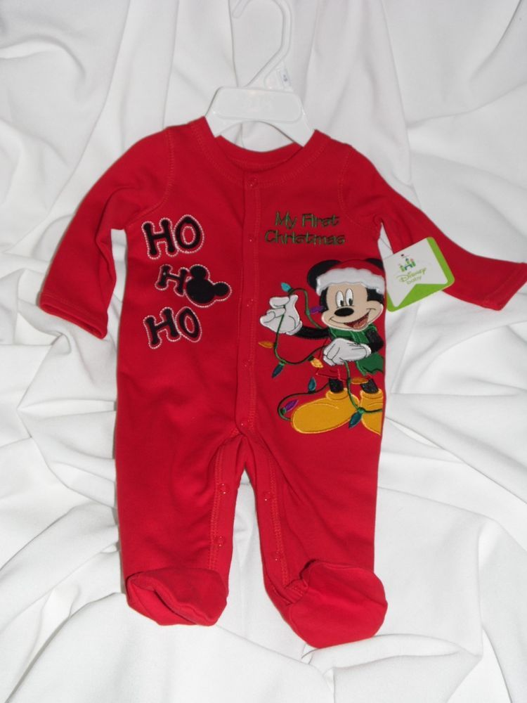 a287ad405 Disney Baby Mickey Mouse Infant Boy Footed Sleeper 3 Months MY FIRST  CHRISTMAS