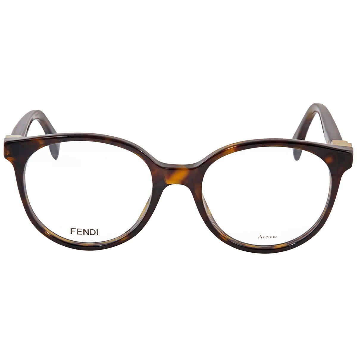 Fendi Eyeglasses. Color code: 086. Lens Width: 50 mm. Lens Bridge: 18 mm. Arm Length: 140 mm. Frame Color: Dark Havana. Frame Material; Acetate. Shape: Round. UPC/EAN code: 762753404756. Fendi Eyeglasses FF020208650.