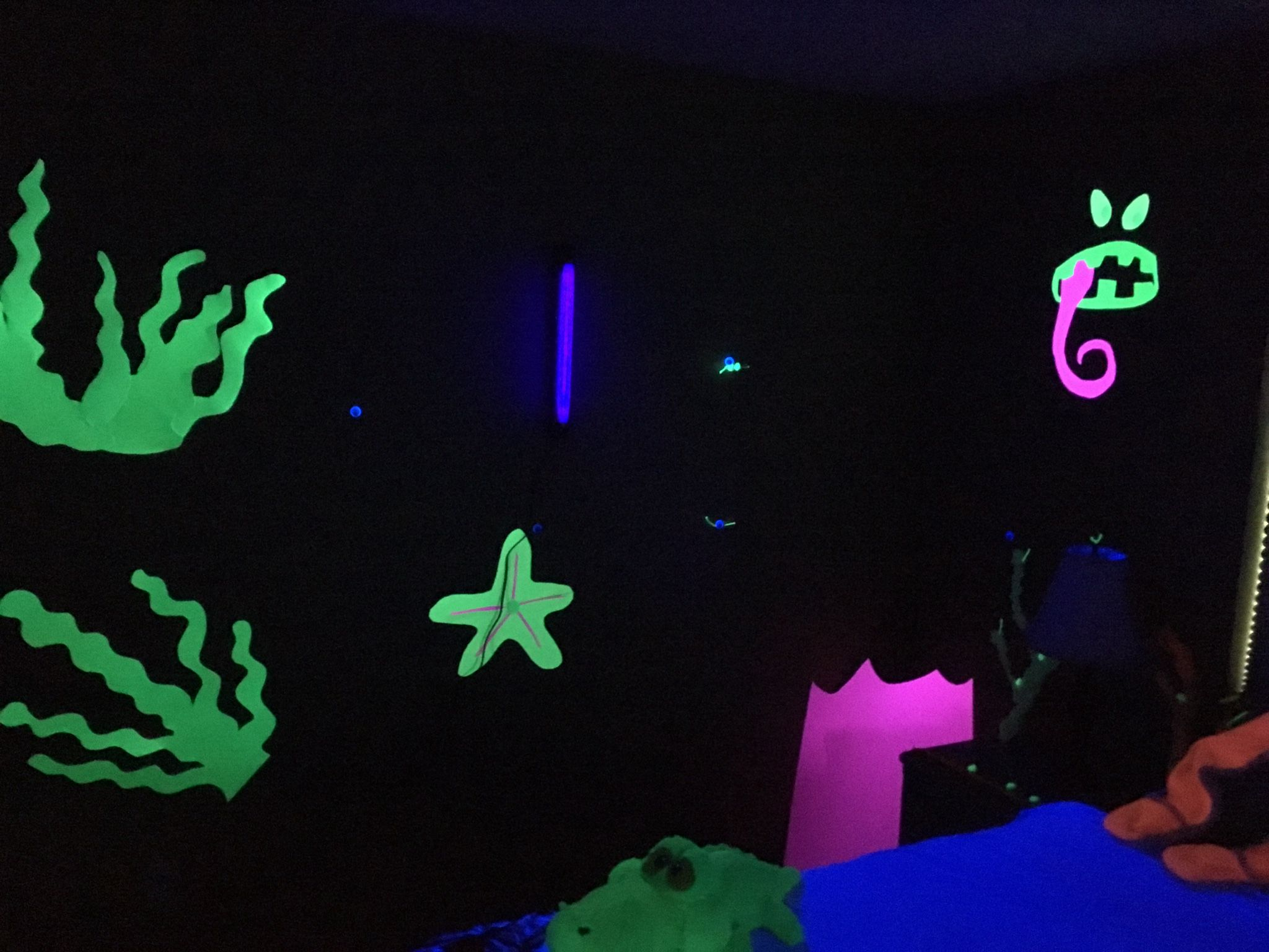 moana party realm of monsters tamatoa lair black light room party pinterest. Black Bedroom Furniture Sets. Home Design Ideas