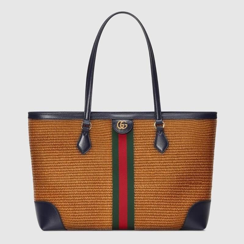 Photo of Ophidia medium tote in camel straw effect   GUCCI® US