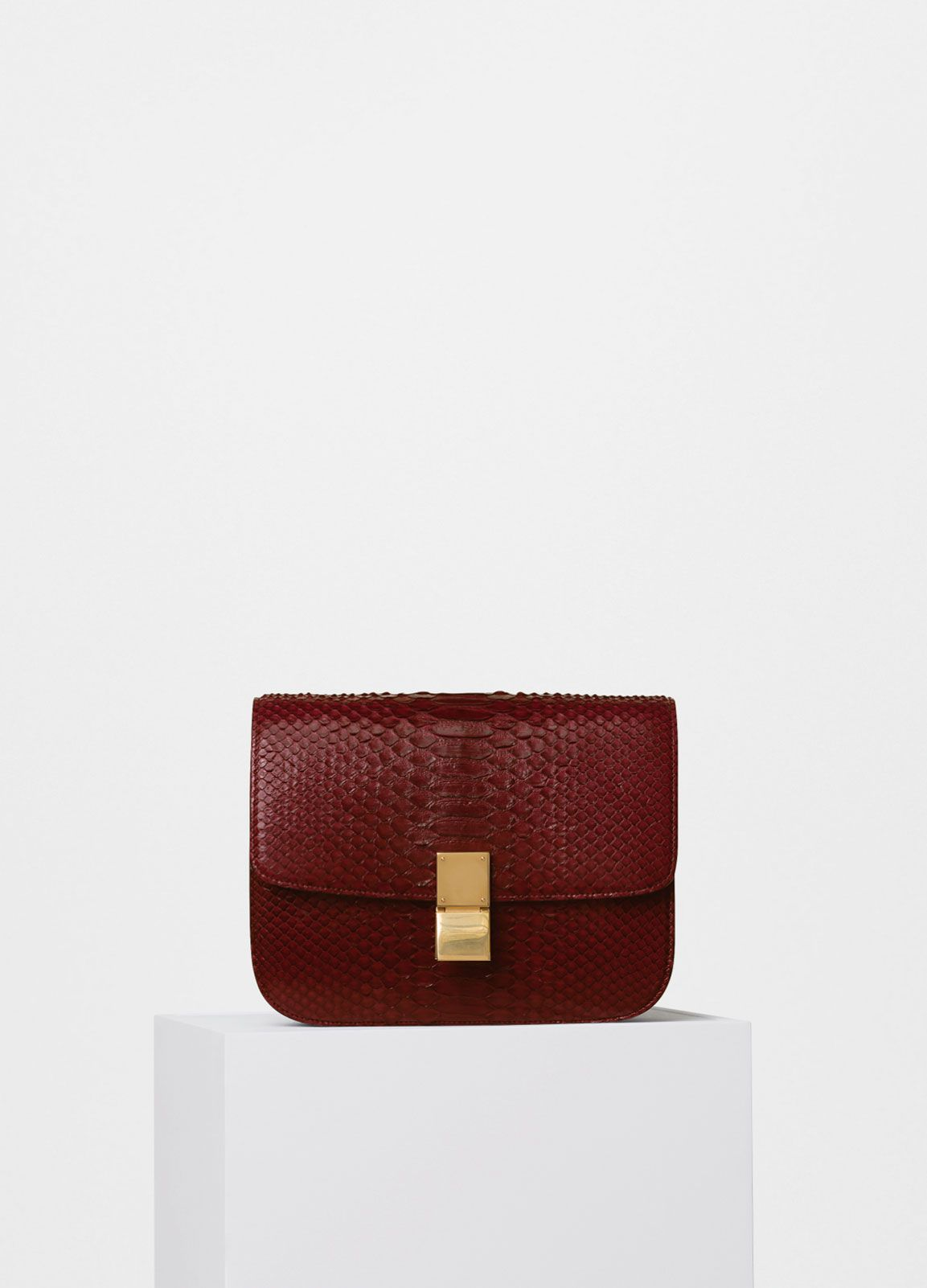 9087c624bf Celine Burgundy Python Classic Box Small Bag