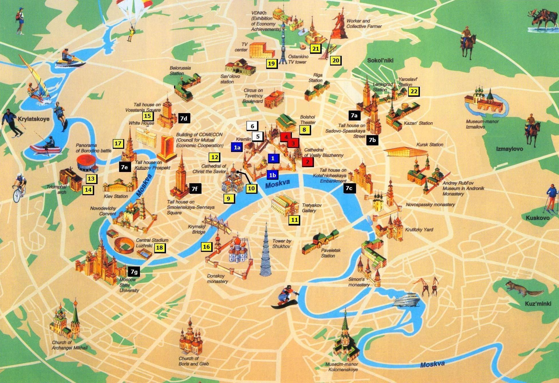 Moscow - 3D Tourist Map - Top sights | Tourist map, London ...