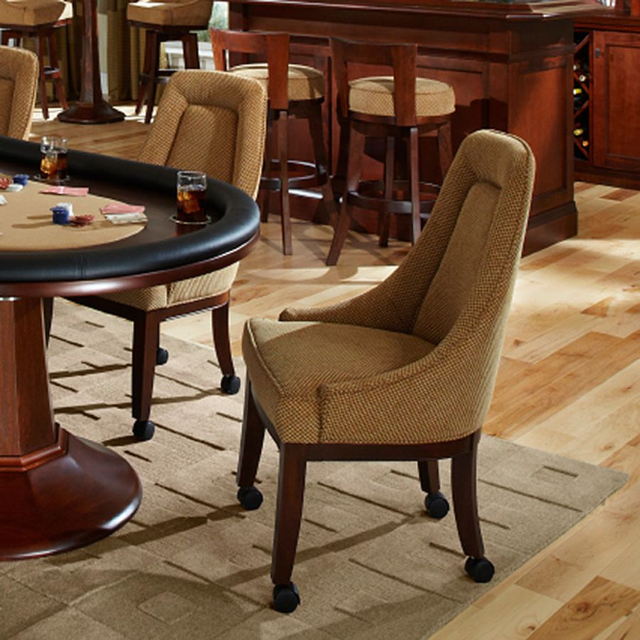 Kitchen Table With Chairs On Wheels: Poker Chairs W/ Swivel Base & Custom Leather