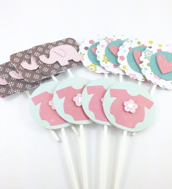 Set of 12 Baby Girl Shower Cupcake Toppers by DebbiesCutsAndCrafts