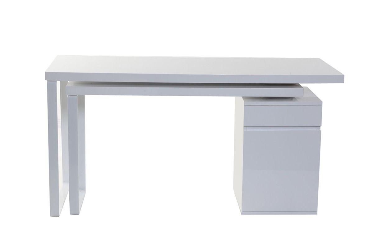 Bureau design amovible blanc brillant voxy zoom bureau