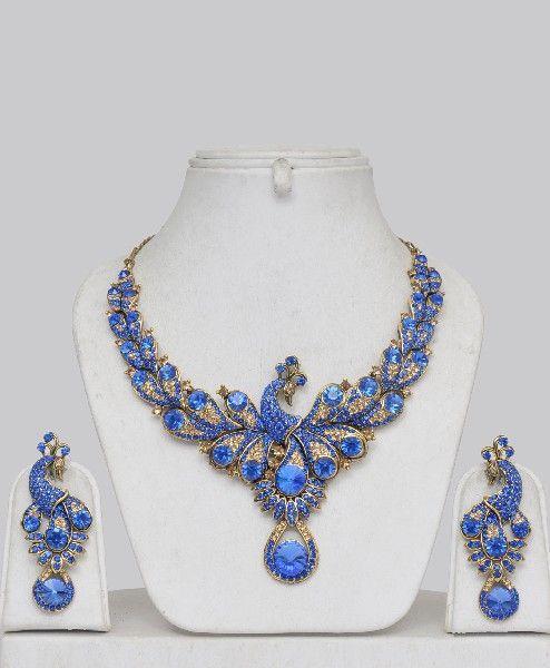ღღღ Blue stone peacock jewelry set