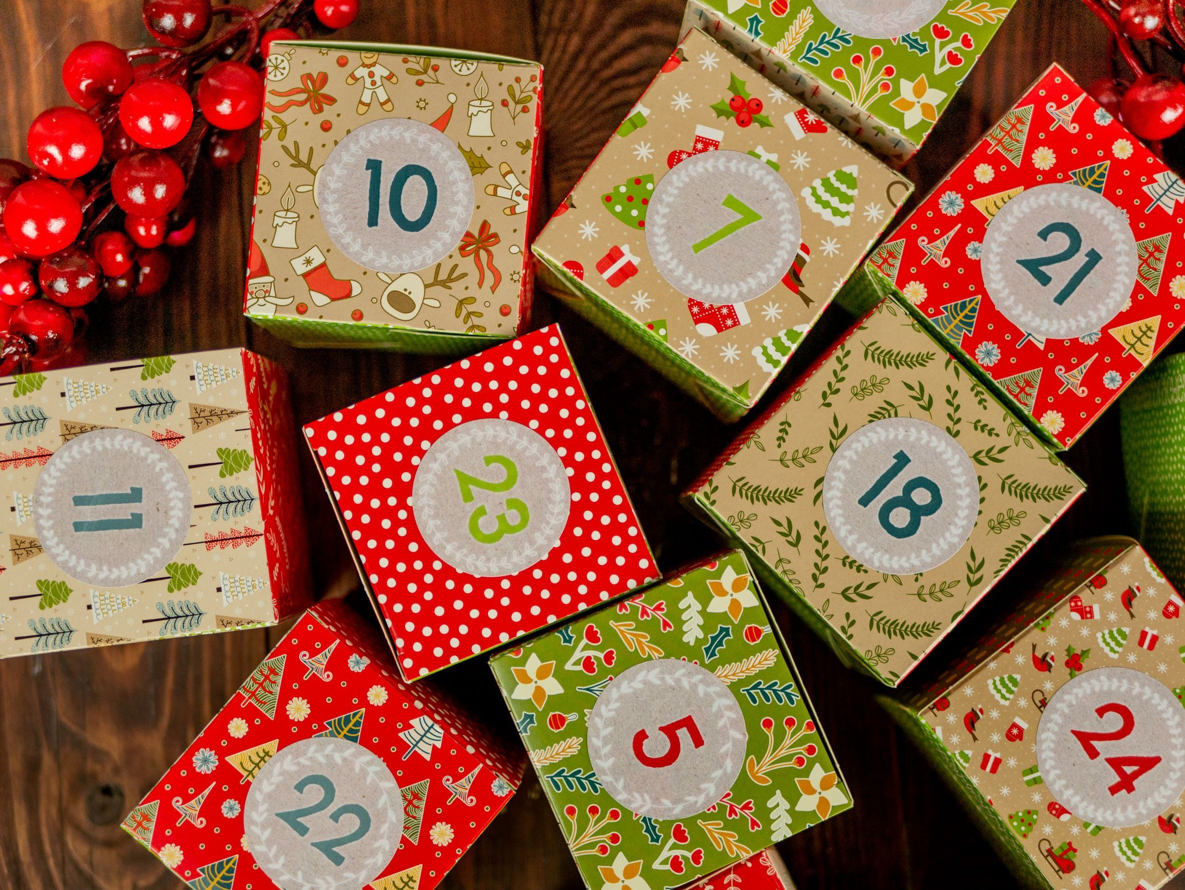Papierdrachen DIY Adventskalender Kisten Set Motiv Rot