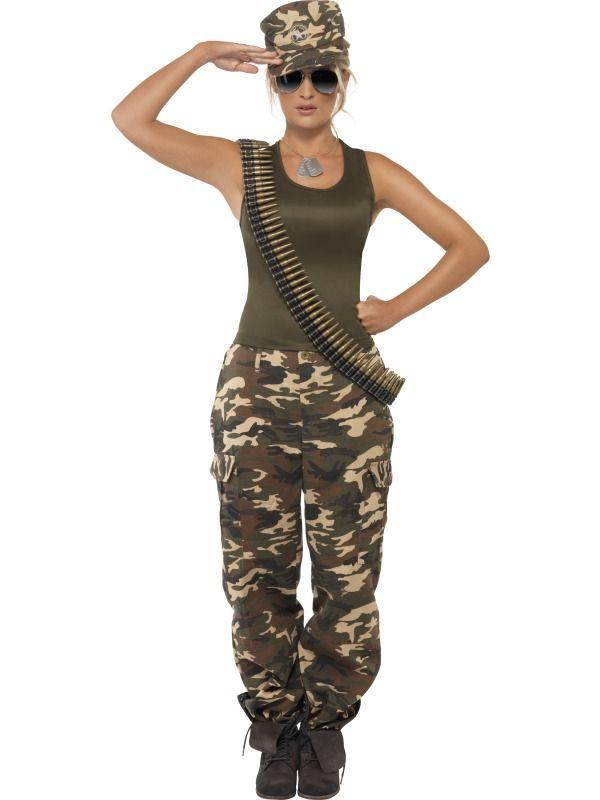 e1a5ad98fbaf4 Ladies Sexy Military Army Soldier Girl Uniform Fancy Dress War ...