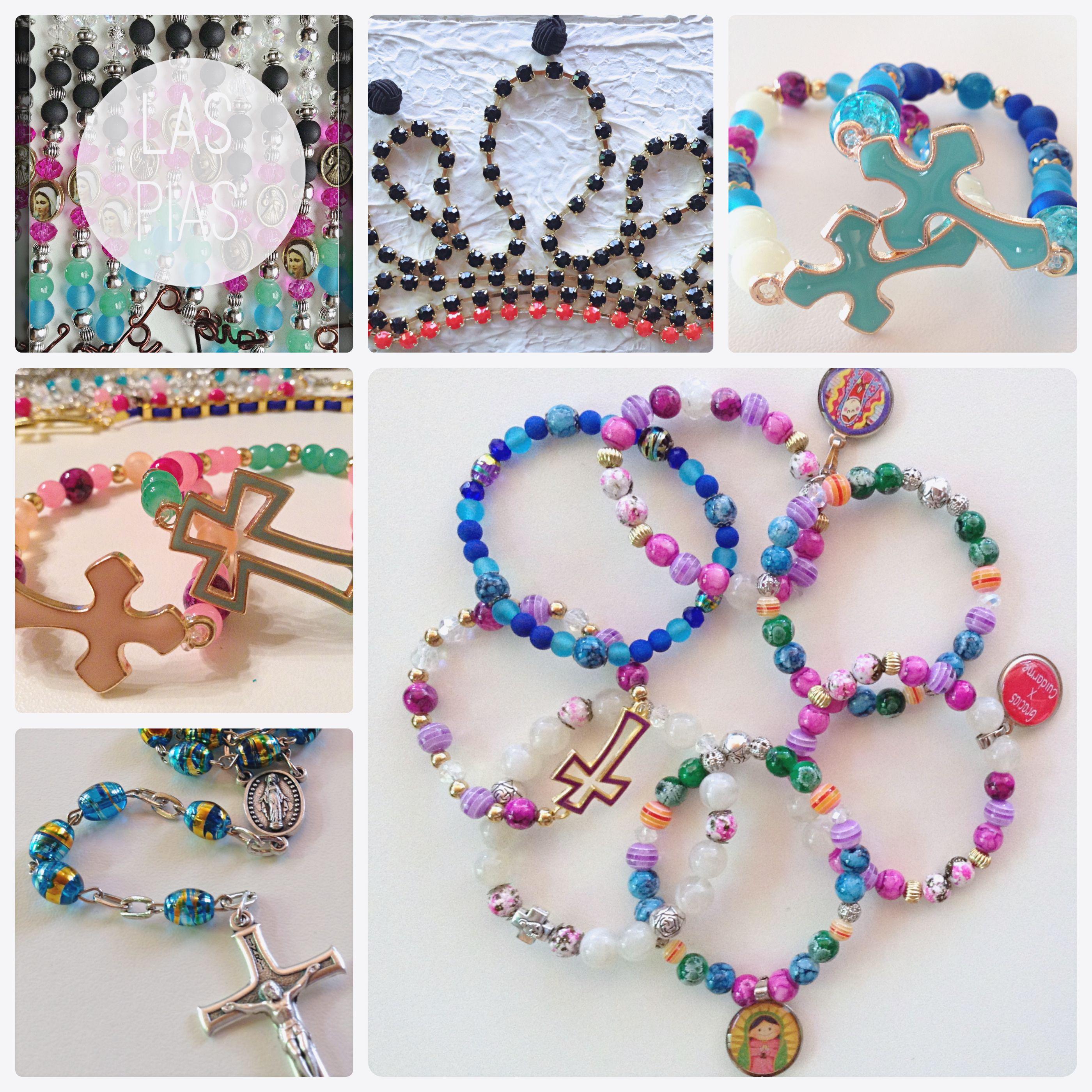 #Handmade #jewelry. Rosary  Bracelets. Variety of colors, pearls and cross shapes.   Joyería hecha a mano. Rosarios  Pulseras. Variedad de colores, perlas y formas de cruces.