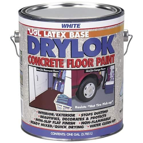 Drylok 21213 Concrete Floor Paint White 1 Gal Painted Concrete Floors Painted Floors Concrete Floors