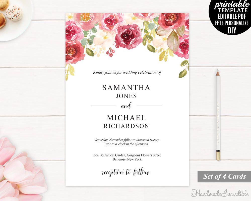 Marsala Wedding Invitation. Printable Wedding Invitation Set. Floral ...