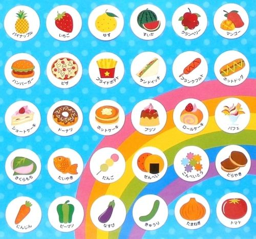 Japanese Stickers Names of Fruits & Food in Hiragana And Katakana ...