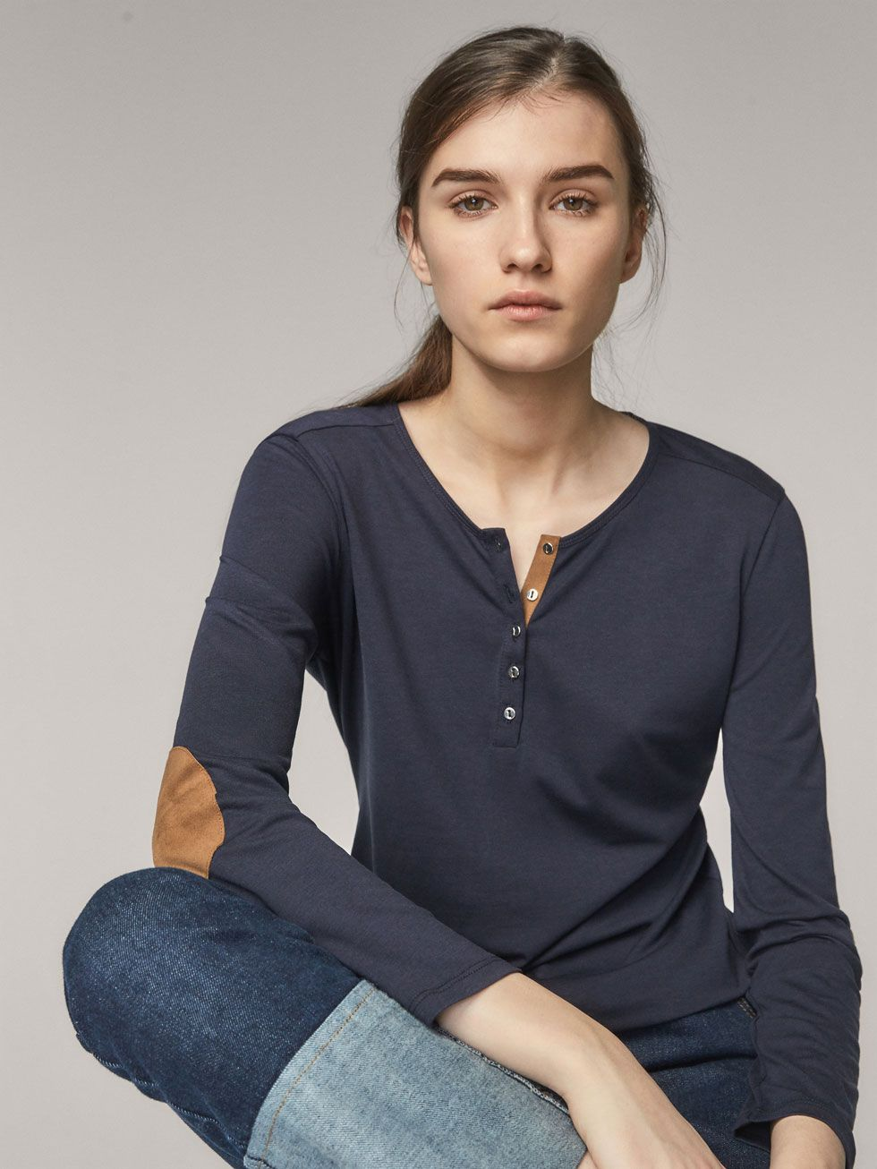 c99ef43bbc HENLEY T-SHIRT WITH ELBOW PATCHES - Women - Massimo Dutti