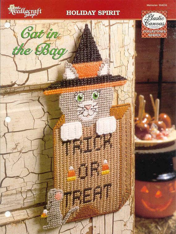 Cat in the Bag Halloween Door Decoration  Plastic Canvas | E…