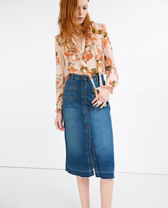 Denim Skirt Midi Length - Dress Ala