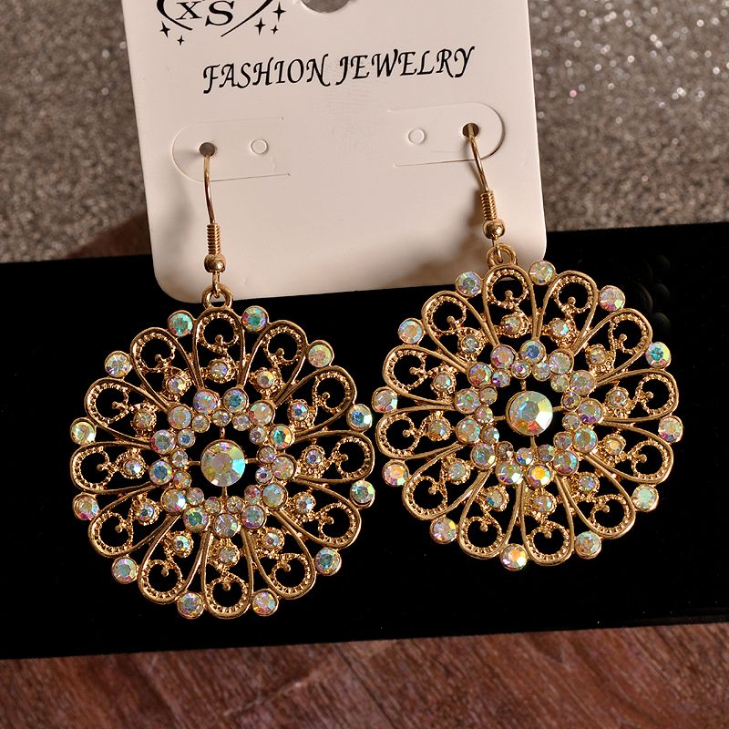 Ms popular senior colored gems noble jewelry girls birthday party circle earrings Christmas gift